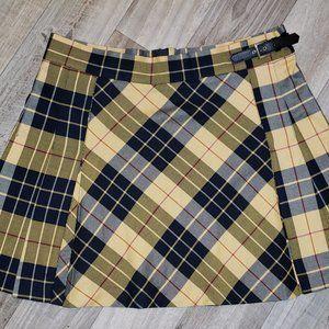 M&S Black/Yellow Pleated Plaid/Tartan Skirt/Kilt